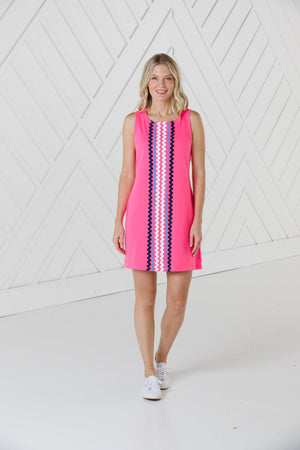 Hibiscus Sleeveless Shift Dress with Ric Rac