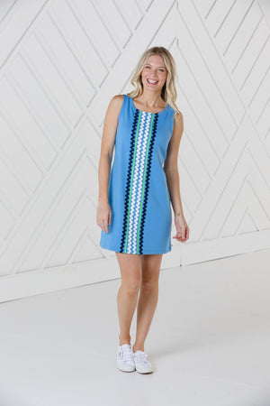 Marina Sleeveless Shift Dress with Ric Rac