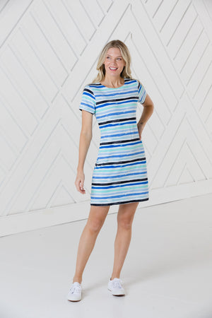 Blue Stripe Print Short Sleeve Dress