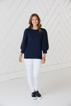 Navy 3/4 Puff Sleeve Sweater