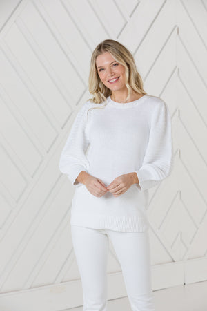 White 3/4 Puff Sleeve Sweater