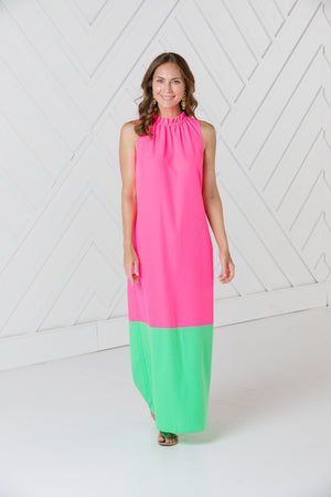 Hibiscus Ruffle Neck Maxi Dress