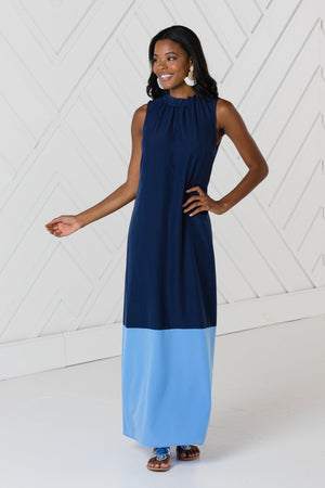 Navy Ruffle Neck Maxi Dress