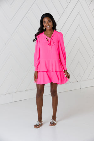 Hibiscus Long Sleeve Ruffle Hem Dress
