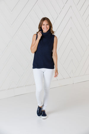 Navy Sleeveless Turtleneck Sweater