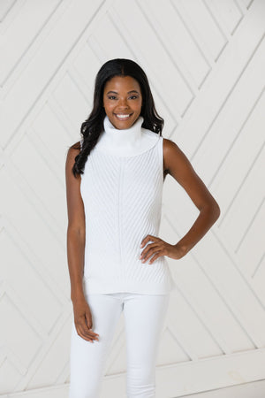 White Sleeveless Turtleneck Sweater