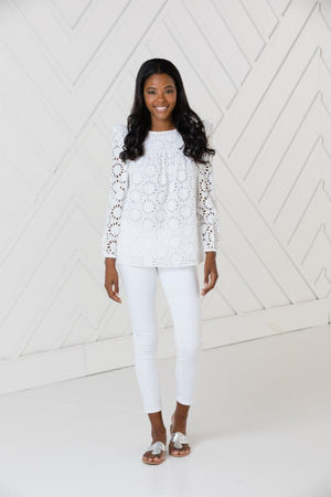 Eyelet Long Sleeve Top