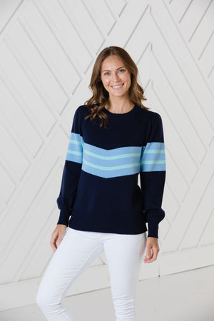Navy Puff Sleeve Stripe Sweater
