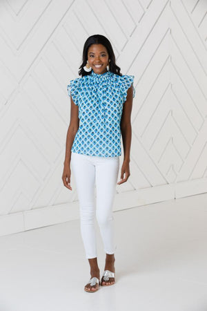 Teardrop Ruffle Neck Sleeveless Top