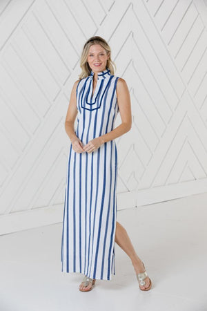 Stripe Sleeveless Classic Maxi Tunic