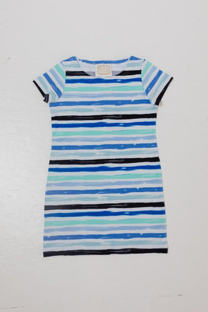 Blue Stripe Print Kids Short Sleeve Dress