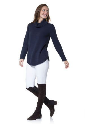 Cotton Long Sleeve Turtleneck Sweater Navy