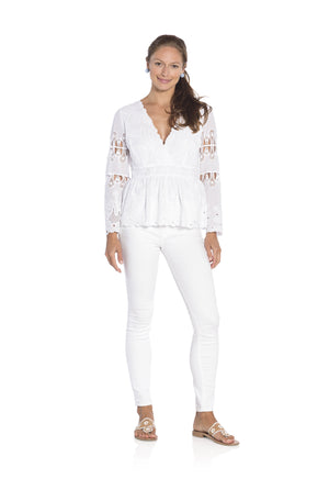 Embroidered Peplum Cotton Top White