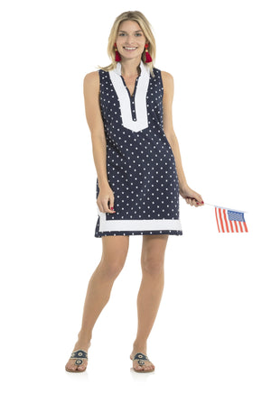 Sleeveless Clip Dot Tunic Dress