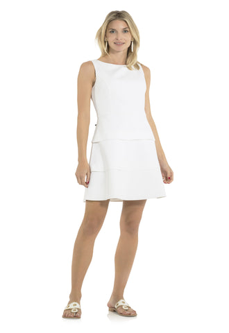 Poly Viscose Sleeveless Tiered Dress White