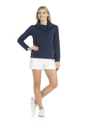 French Terry Cowl Neck Sweatshirt Navy