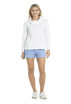 French Terry Cowl Neck Sweatshirt White