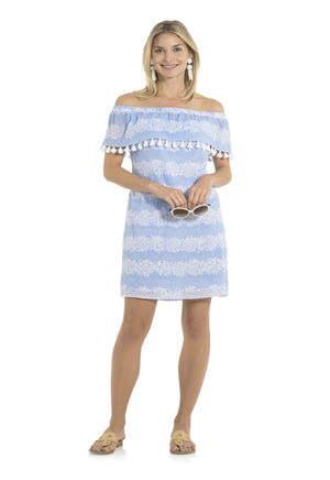 Crinkle Cotton Off Shoulder Dress Hydrangea