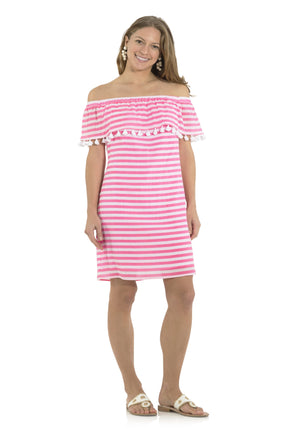 Crinkle Cotton Off the Shoulder Dress Pink/White