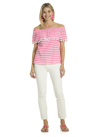 Crinkle Cotton Off Shoulder Top Pink/White