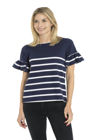 Ponte Stripe Ruffle Sleeve Top