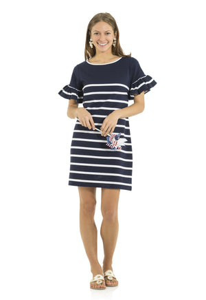 Ponte Stripe Ruffle Sleeve Dress