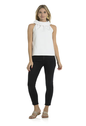 Poly Viscose Cowl Neck Top White