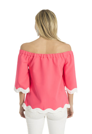 Poly Viscose Off Shoulder Ric Rac Top