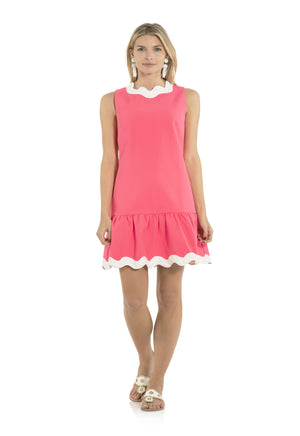 Poly Viscose Ruffle Hem Ric Rac Dress