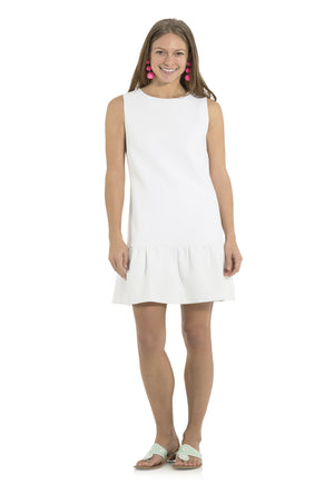 Poly Viscose Ruffle Hem Dress White
