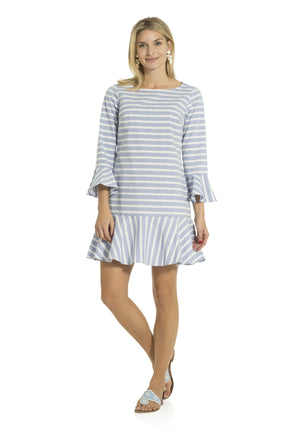 Stripe Cotton Long Sleeve Ruffle Hem Dress