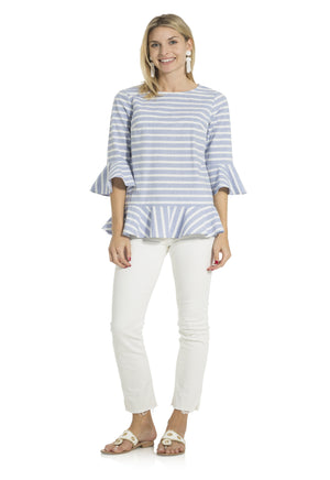 Stripe Cotton Long Sleeve Ruffle Hem Top