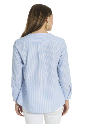 Stripe Shirting Button Front Top