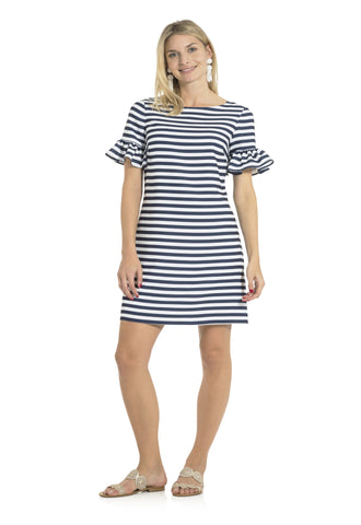 Poly Crepe Ruffle Sleeve Dress Navy