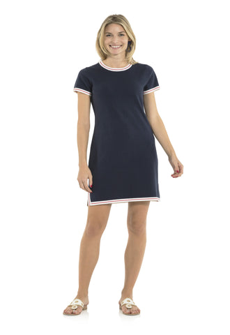 Short Sleeve Sweater Dress Navy