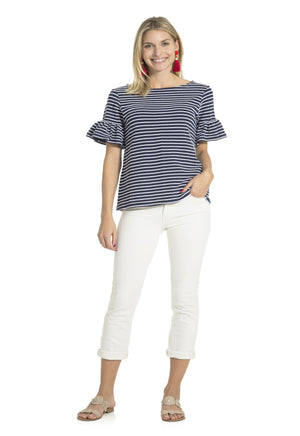 Textured Knit Stripe Ruffle Sleeve Top Navy