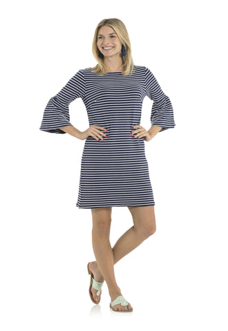 Textured Knit Stripe Bell Sleeve Dress Navy