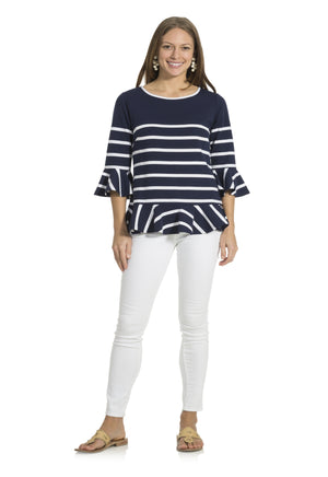 Ponte Stripe Ruffle Long Sleeve Top