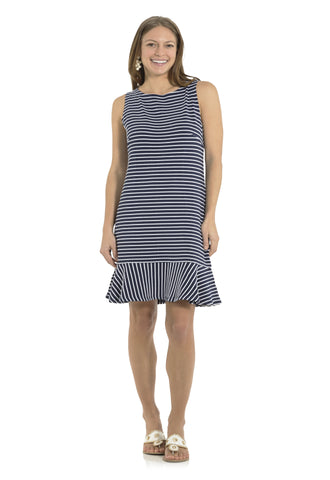 Textured Knit Stripe Sleeveless Ruffle Hem Dress Navy