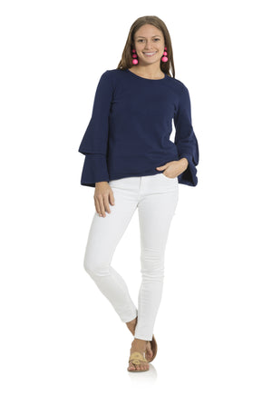 Double Bell Sleeve Sweater Navy