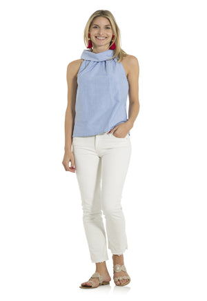 Oxford Shirting Cowl Neck Top