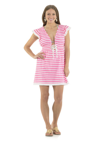 Crinkle Cotton Cover Up Pink/White