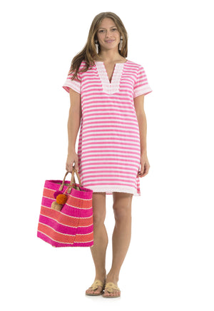 Crinkle Cotton Short Sleeve Dress Pink/White