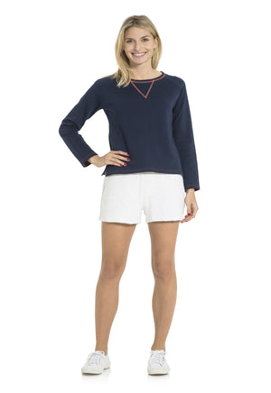 French Terry Crew Neck Top Navy