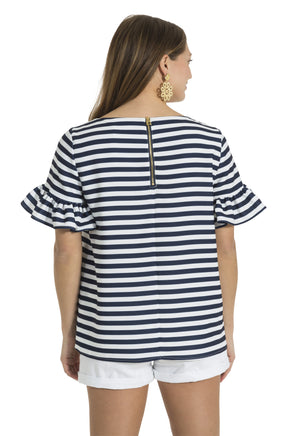 Poly Crepe Ruffle Sleeve Top Navy