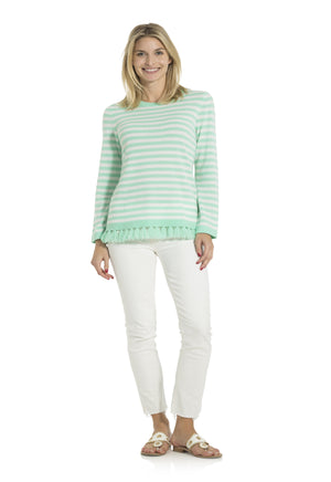 Stripe Tassel Sweater Cabbage/White
