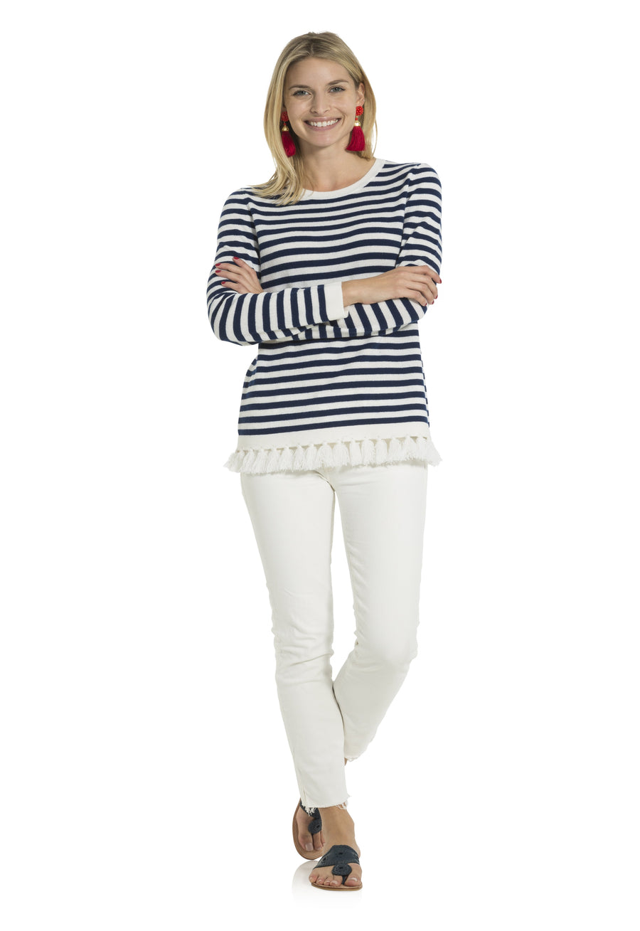 Stripe Tassel Sweater Navy/White