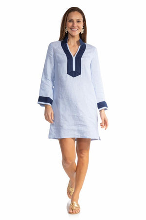 Stripe Linen Long Sleeve Classic Tunic