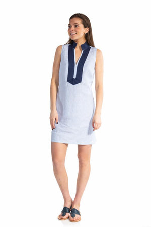 Stripe Linen Sleeveless Classic Tunic