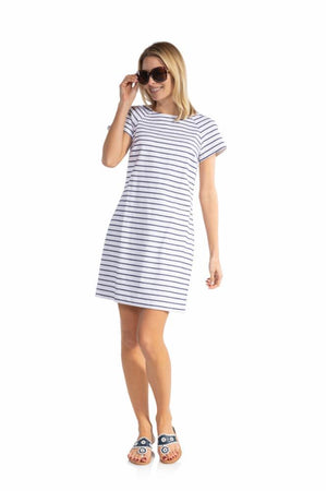 Stretch Cotton Short Sleeve Dress